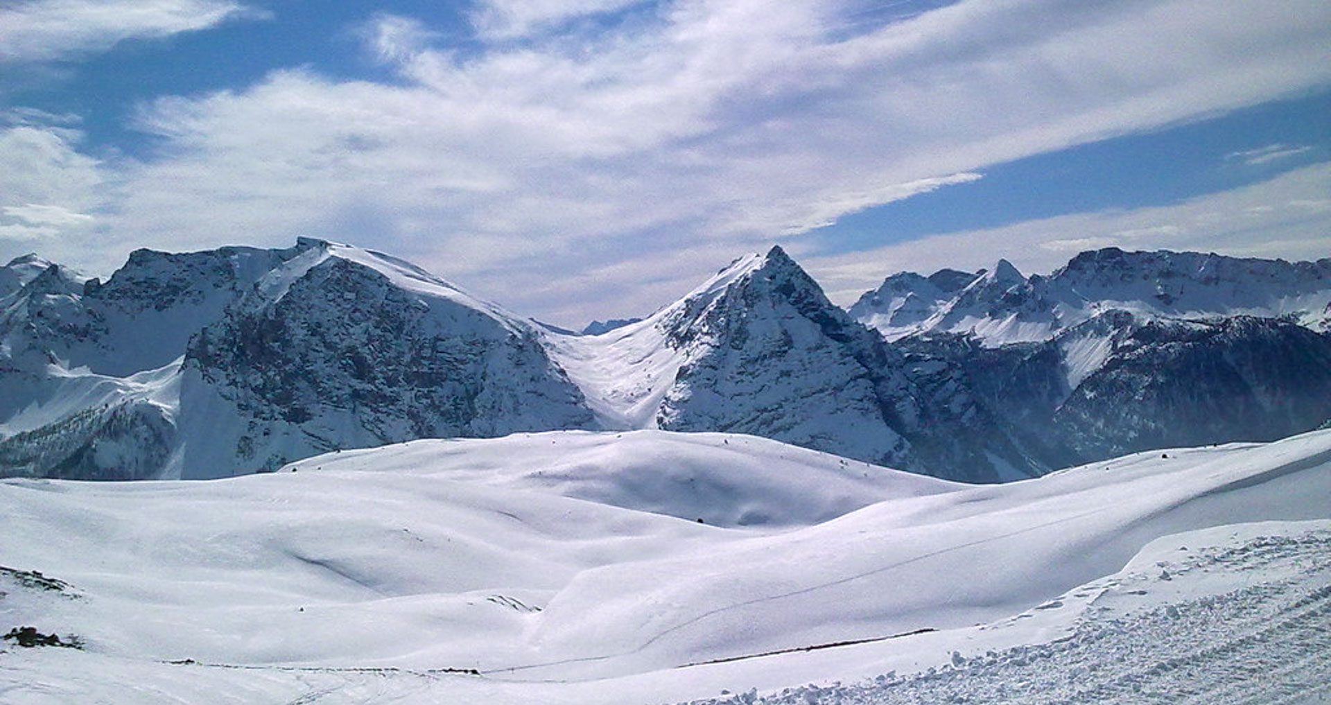 The ski slopes of Claviere in the mountains
